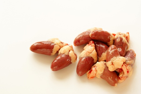 giblets: Raw chicken hearts                Stock Photo