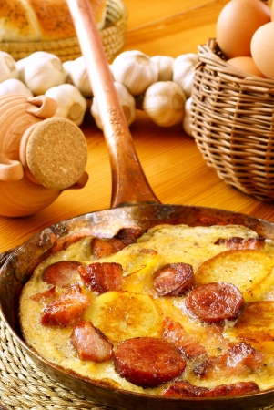 Omelet with potatoes, bacon and sausage