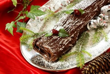 Kerst log taart Stockfoto - 16415913