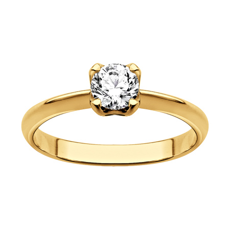 Ring of gold with diamonds (on white background)