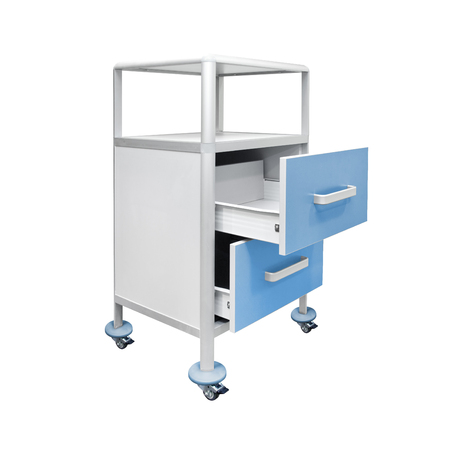 Mobile medical nightstand, isolated on white background. Medical equipment