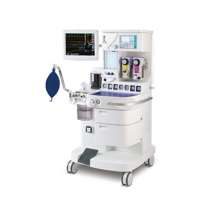 Máquina de anestesia, aislada sobre fondo blanco. Equipo medico