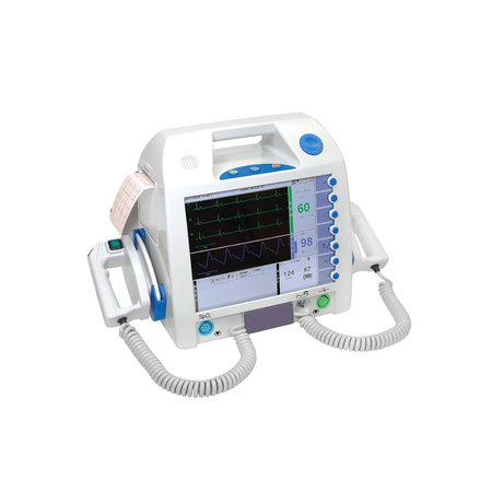 Mobile medical defibrillator, isolated on white background. Medical equipment
