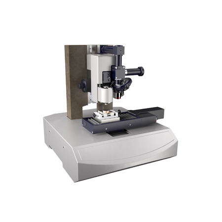 Laboratory microscope for research, isolated on white background Stock Photo