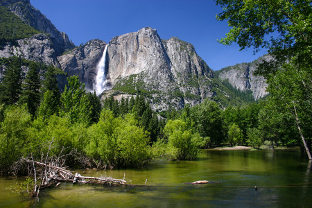 Mercy River and Lower Fall in Yosemite National Park Stock Photo