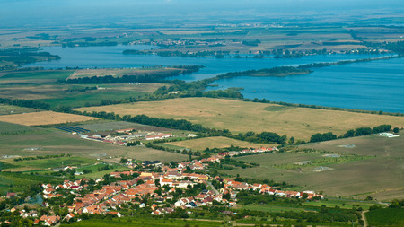 vineyard plain: Small village near reservoirs in southern Moravia Stock Photo