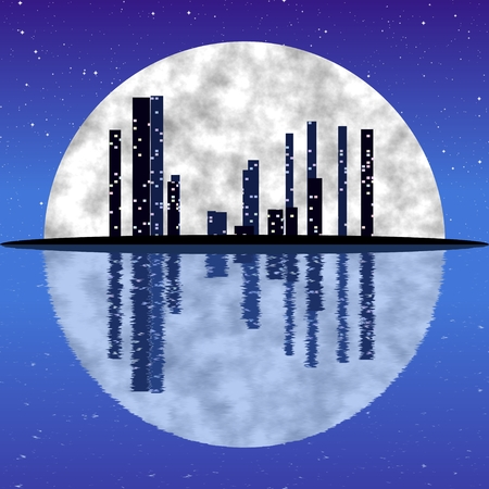 civilization: Civilization and environmental protection on Earth Illustration Night city and full moon are Reflected in a blue water Stock Photo