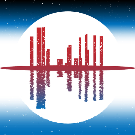 civilization: Civilization and environmental protection on Earth Vector Night city and full moon are Reflected in water and