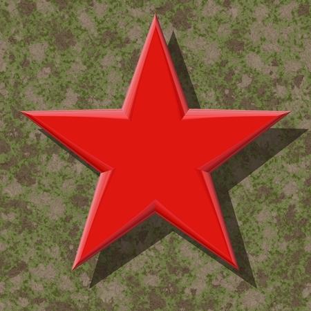 estrellas cinco puntas: Estrella de cinco puntas de color rojo sobre fondo marrón de camuflaje verde- Foto de archivo