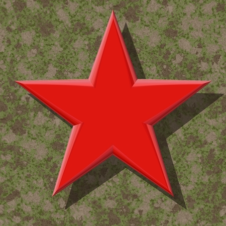 abstract symbolism: Five-pointed red star on brown-green camouflage background