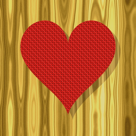 table top: Red fabric heart on a wooden table top illustration