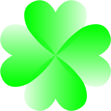 four leaf: Vector green four leaf clover from hearts