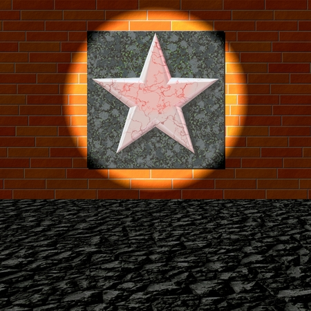 five pointed: Peeling five-pointed red star on brick wall lit by spotlight