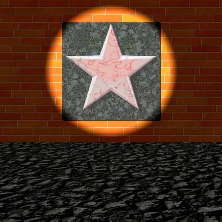 peeling: Peeling five-pointed red star on brick wall lit by spotlight