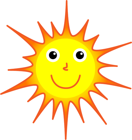 beam with joy: Vector of the shining and smiling sun on a white background for childrens cartoon Illustration