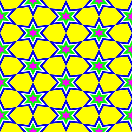 green stars: Abstract kaleidoscope seamless pattern for background. Blue green stars on yellow background.