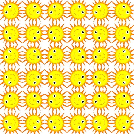 beam with joy: Illustration of the shining and smiling sun on a white background for children Stock Photo