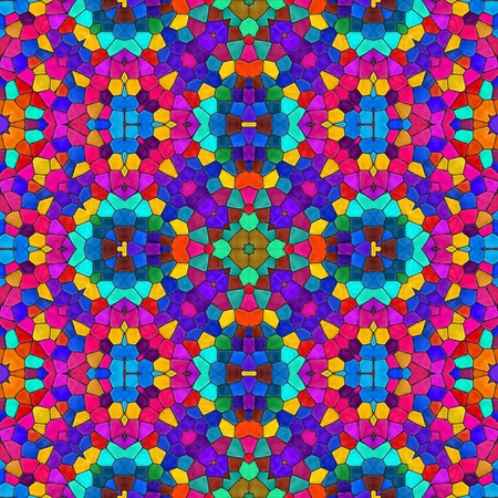 Abstract seamless texture of multicoloured mosaic kaleidoscope pattern for background Stock Photo