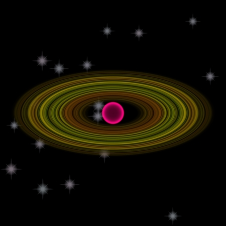 Abstract pink planet with large rings in deep space with many stars
