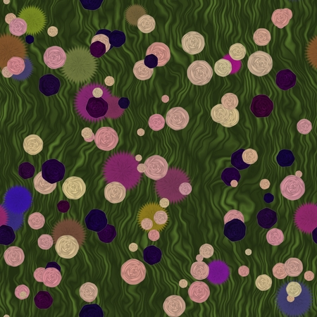 Bright flowers of various plants on a spring meadow  seamless pattern