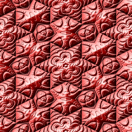 Seamless texture of red Mayan ornaments  background Stock Photo