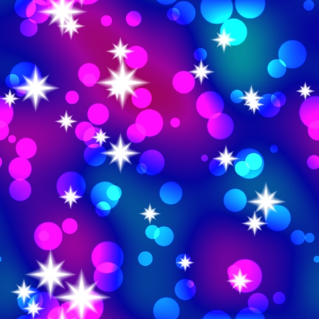 Christmas seamless background with shining stars and balls