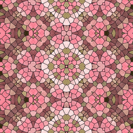 Abstract seamless pink texture of mosaic kaleidoscope pattern for background Stock Photo