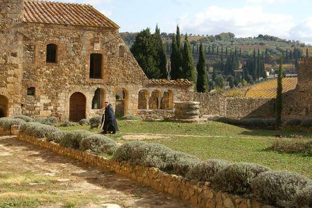 Italiaanse abdij Stockfoto