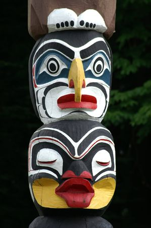 the totem pole: Detail of totem pole