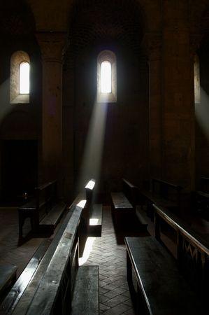 Sun shining through abbey window