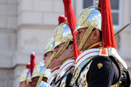 LONDON, UK - APRIL 20: Members of the Household Cavalry on duty at Horse Guards building during the ceremony of Changing of the Guard in London on April 20, 2012. The Cavalry are the lifeguards of Queen Elizabeth II of England