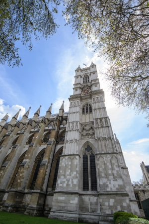Northern facade of Westminster Abbey in London. The abbey is the venue for many royal occasions such as weddings, coronations and burials.