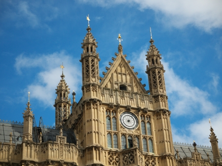 The Houses of Parliament in London, which are  also known as the Palace of Westminster. Besides housing the British parliament it still has a royal function as well