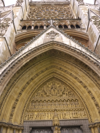 LONDON - APRIL 21   North facade of Westminster Abbey in gothic style on April 21, 2012 in London  The abbey is the venue for many royal occasions such as wedding, coronations and burials