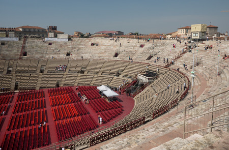 Inside the Arena di Verona, the second largest roman amphitheater in the world and famous for its opera performances