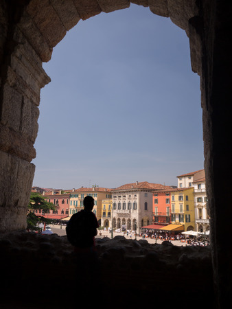 View on the streets in the city of Verona from inside the arena photo
