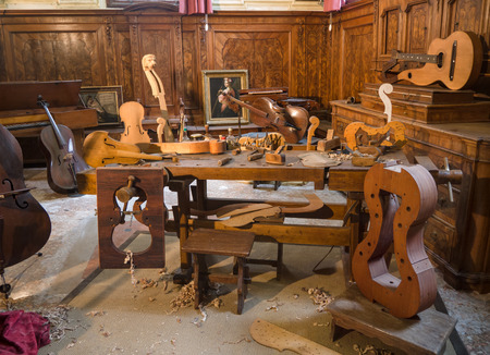 Inside a workshop of violins, guitars and other stringed instruments