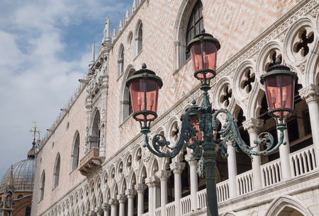 The columns and pink & white marble walls of the Doge's Palace in Venice Stock Photo - 25876371