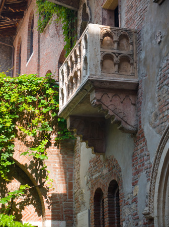 The balcony of Juliets house, made famous in Shakespeares play Romeo and Juliet, is now a major tourist attracttion