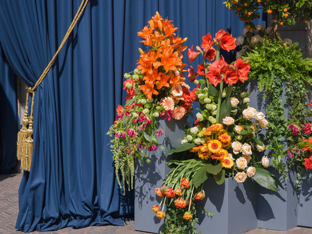 Floral tribute at the church in Amsterdam where the inauguration of the new Dutch King Willem-Alexander takes place on April 30, 2013 Editorial