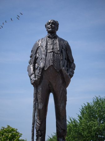 dikes: Statue of famaous Dutch civl engineer Cornelis Lelys, responsible for the enclosure of the Zuiderzee