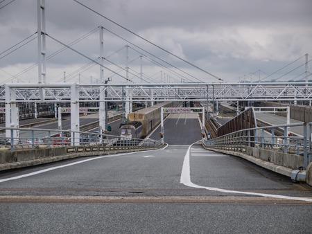 Calais Eurotunnel terminal of trains that transport cars to Folkestone, UK