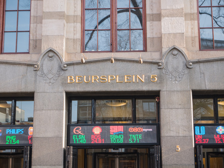 echange: Stock exchange building in the city of  Amsterdam. The Amsterdam Stock Exchange is considered the oldest in the world. The blue chip index is called AEX.