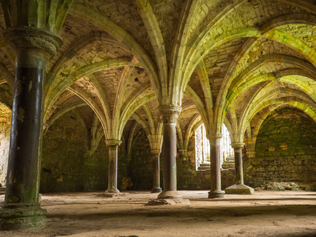 conquest: Inside the abbey as built on the site right after the Battle of Hasting in 1066 during the Norman Conquest Stock Photo