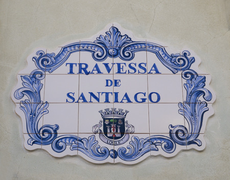 Ceramic steet sign in the Portuguese town of Loulé, Algarve photo
