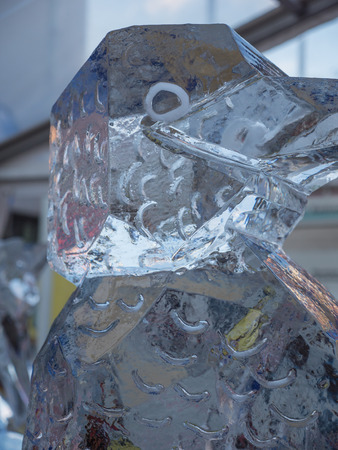 hand carved: ALMERE, NETHERLANDS - OCT. 26: Ice sculpture made by an artist at the annual Sculpture Festival being held in the townsquare of Almere on June 26, 2013