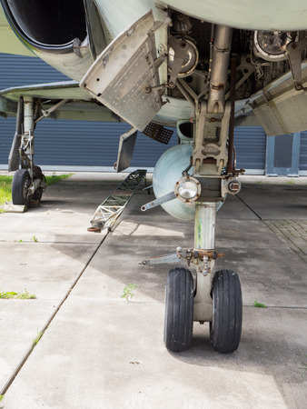 undercarriage: Undercarriage of a vintage jet fighter plane Stock Photo