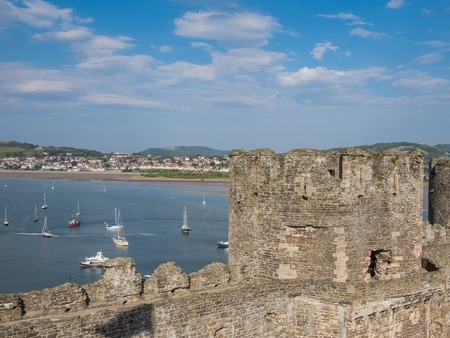 king edward: View from  Conwy Castle in Wales on the Conwy Easturay. The castles was built by king Edward I as one of the fortifications during the conquest of Wales in the 13th Century