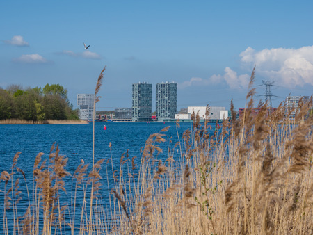 almere: ALMERE, NETHERLANDS - 11 APRIL 2014: Part of the skyline of the modern city centre of Almere, Flevoland, the youngest and fastest growing city in the Netherlands, where construction began in 1975
