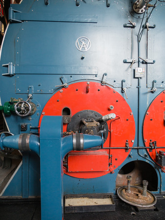 boiler house: LEMMER, NETHERLANDS - 2 MARCH 2014  Inside the boiler house of the historic Wouda steam pumping station from 1920  It is the largest of its kind and still in operation  It pumps away excess water in the province of Friesland